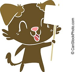 laughing flat color style cartoon dog with sign