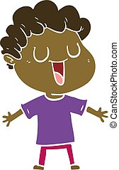 laughing flat color style cartoon man