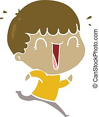 laughing flat color style cartoon man running