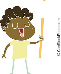laughing flat color style cartoon man with black signpost