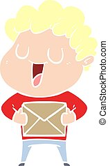 laughing flat color style cartoon man with parcel