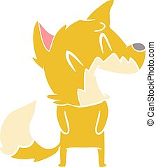 laughing fox flat color style cartoon