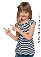 Laughing girl shows her fingers to the side