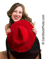 Laughing girl with a red hat