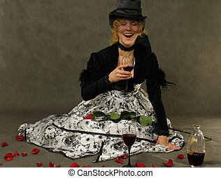 Laughing Girl with glass of wine