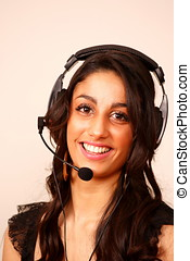 Laughing girl with headset