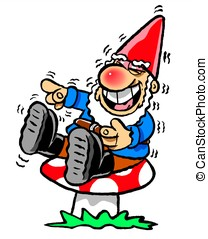 Laughing Gnome - Cartoon of laughing garden gnome sitting on...
