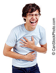 Young hispanic man wearing glasses, blue t-shirt and jeans standing with hands on his belly and loudly laughing isolated on white background - laughter concept