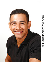 Laughing handsome latino male, vertical portrait