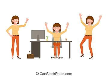 Laughing, happy, funny brown hair young office female in orange pants vector illustration. Having fun, jumping, sitting at the desk winner girl cartoon character set