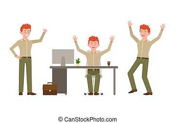Laughing, happy, funny red hair young office worker in green pants vector illustration. Having fun, jumping, sitting at the desk winner boy cartoon character set