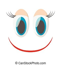 Laughing happy smile icon, cartoon style