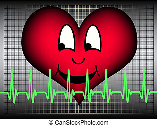 laughing heart - Red heart laughing and cardiogramm line