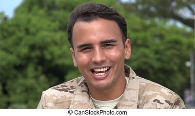 Laughing Hispanic Male Soldier