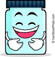 Laughing jar character cartoon style