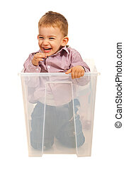 Laughing kid in a box
