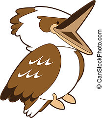 Laughing Kookaburra - Isolated vector cartoon of a cheerful...