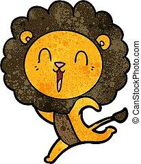 laughing lion cartoon running