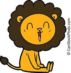 laughing lion cartoon sitting