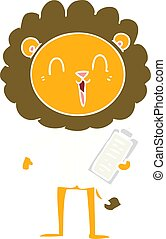 laughing lion flat color style cartoon