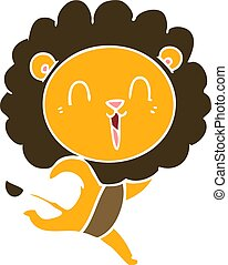 laughing lion flat color style cartoon running