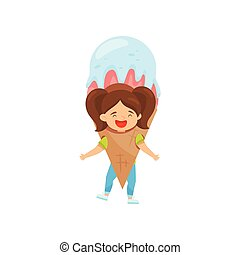 Laughing little girl with ponytails in ice-cream costume. Outfit for carnival. Funny kid. Flat vector design