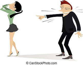 Laughing man and crying woman illustration - The man laughs...