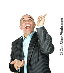Laughing man pointing up