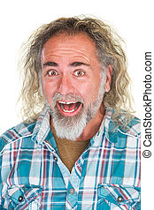Laughing Man with Long Hair