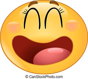 Laughing manga emoticon - Manga emoticon laughing with...