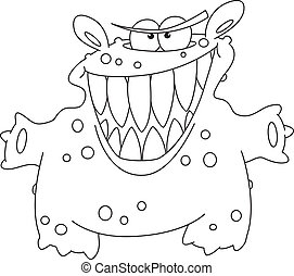 laughing monster outlined