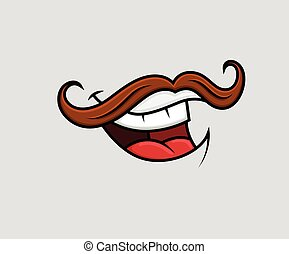 Laughing Moustaches Mouth Comic Laughing Expression Vector...