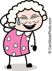 Laughing - Old Cartoon Granny Vector Illustration