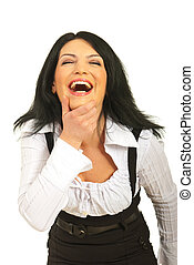 Laughing out loud business woman