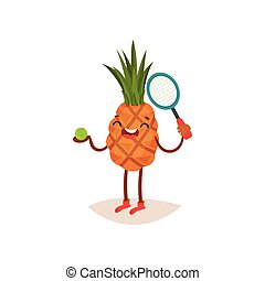 Laughing pineapple standing with ball and tennis racket in hand. Sport and physical activity. Flat vector design