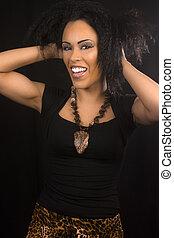 laughing posing woman