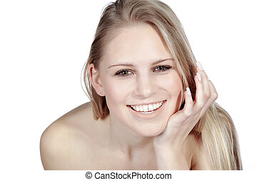 laughing pretty blonde woman