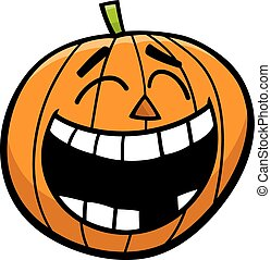laughing pumpkin cartoon illustration - Cartoon Illustration...