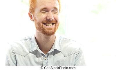 Laughing Red Hair Beard Man