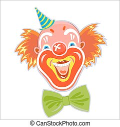 Laughing red-haired clown. - Happy fun smiling red-haired...