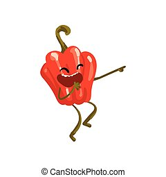 Laughing Red Sweet Pepper Pointing with its Finger, Cute Vegetable Character with Funny Face Vector Illustration