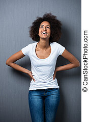 Laughing relaxed young teenager - Laughing relaxed young...
