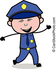 Laughing - Retro Cop Policeman Vector Illustration