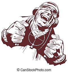 Laughing retro pilot. Stock illustration.