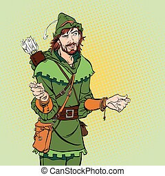 Laughing Robin Hood. Wondering Robin Hood. Robin Hood. Robin Hood in a hat with feather. Young soldier. Noble robber. Defender of weak. Medieval legends. Heroes of medieval legends.