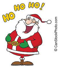 Caucasian Santa Laughing With Ho Ho Ho Text