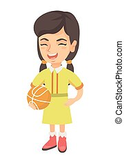 Laughing schoolgirl holding a basketball ball.