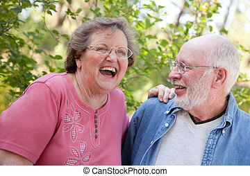 Laughing Senior Couple Outdoors