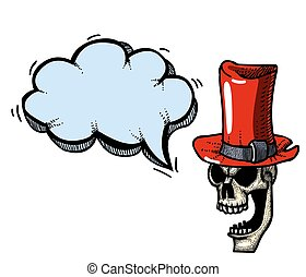 laughing skull in top hat-100 - Cartoon image of laughing...