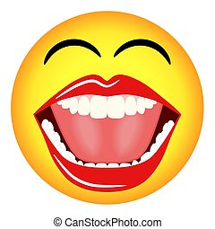 Illustration of a yellow laughing smiley face emoticon with a big mouth, teeth and tongue. Concept for internet chat and humour.